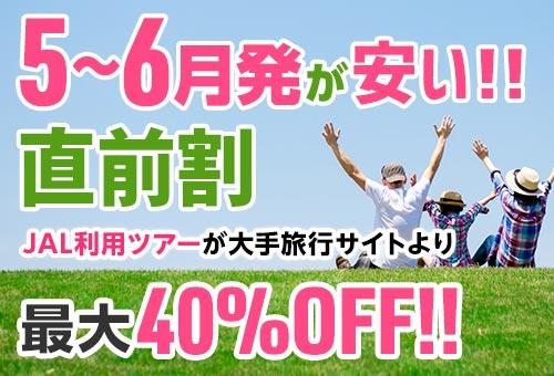 4~5月発が安い!!直前割プランJAL利用ツアー最大40%OFF!!