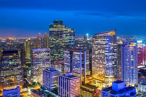 バンコク:シーロムビジネス地区の景観