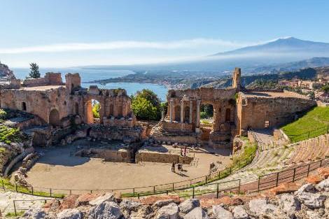 ◇◎タオルミーナ:ギリシャ劇場とエトナ山