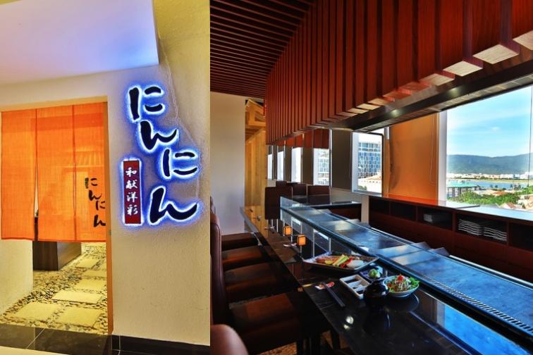 ダナンの本格日本料理「にんにん」の入り口とカウンター席