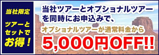 ツアーとセットで お得!当社ツアーとオプショナルツアーを同時にお申込みで、 オプショナルツアーが通常料金から5,000円OFF!!
