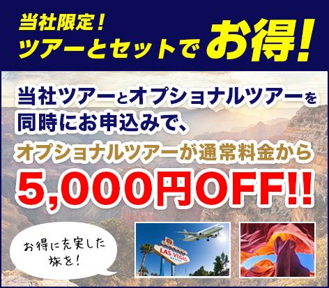 当社限定!ツアーとオプショナルツアーを同時にお申し込みで、オプショナルツアーが通常料金から5,000円OFF!!