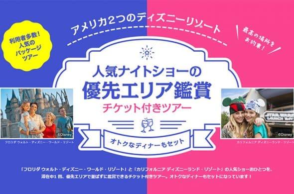 人気ナイトショーの優先エリア鑑賞チケット付きツアー