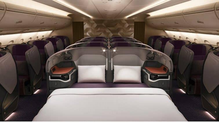 シンガポール航空の中央の座席のベッド