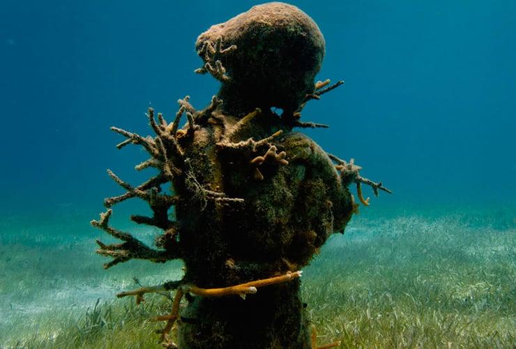 サンゴ礁が付着した彫刻