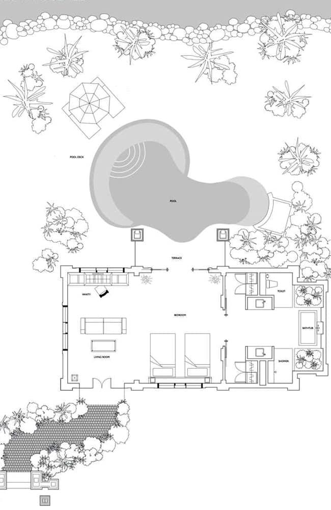 プルクラリゾートダナンのシーフロントツーベッドルームヴィラの間取り図