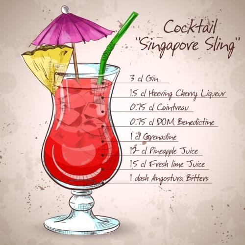 シンガポールスリングのイラスト