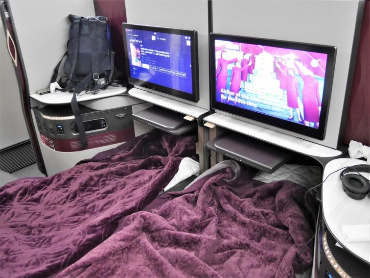 航空業界初カタール航空Qシートのダブルベット