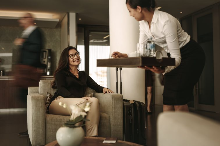a woman relaxing at the airport lounge