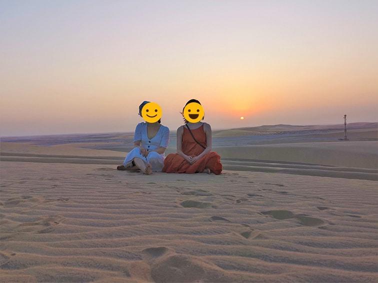 カタール砂漠ツアー夕陽