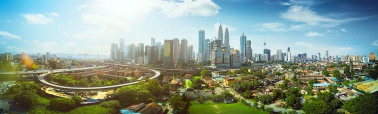 マレーシアの快晴の都市風景
