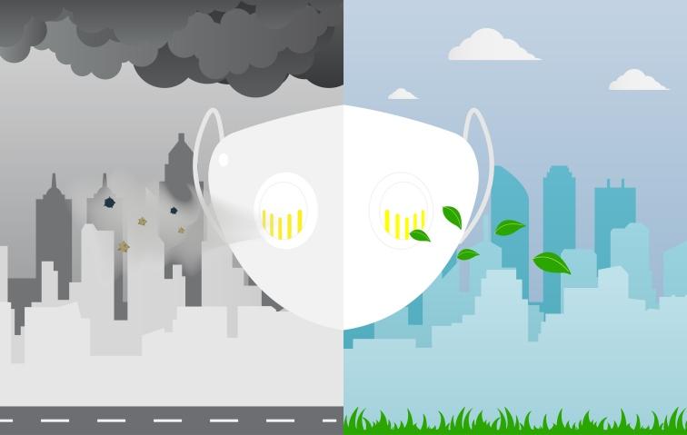 大気汚染対策のマスクのイラスト