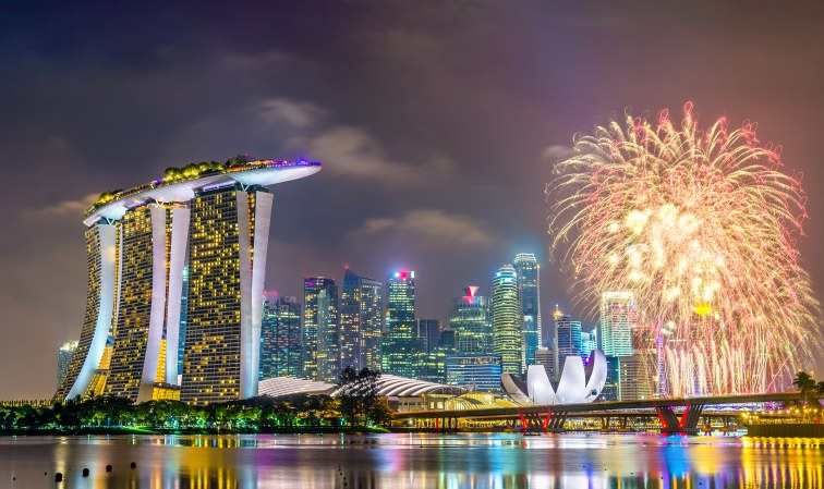 シンガポール・マリーナエリアでの花火