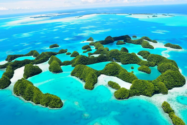 islands in palau from the sky