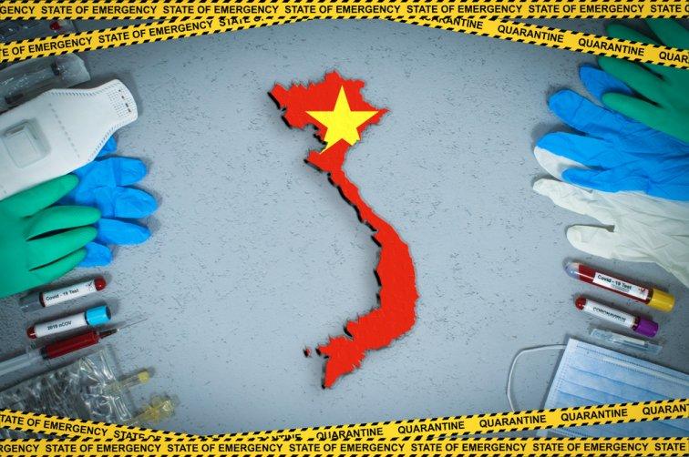 ベトナムの地図イラストと医療器具