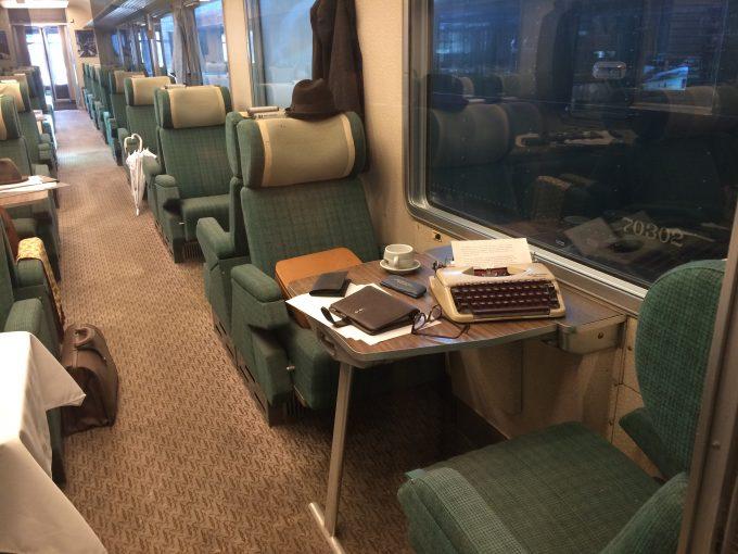 Train World  昔の1等車両。古いタイプライターが載っています