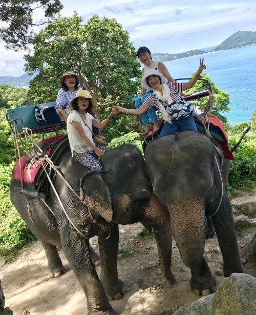 海を見ながら象トレッキング