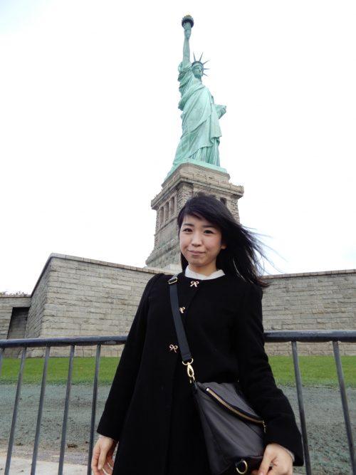 自由の女神と記念撮影