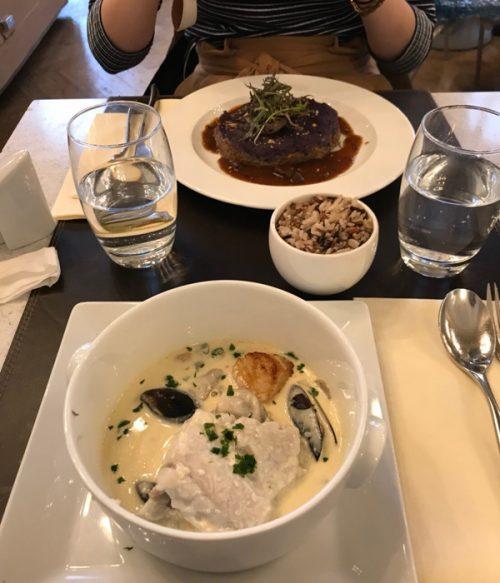「海鮮スープ」と「鴨のコンフィ」