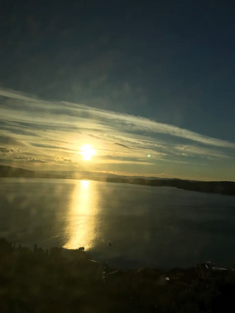 バスの中から観た美しい日の出