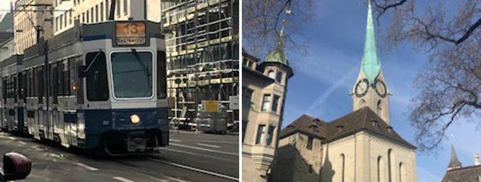 トラムが走るチューリッヒの街並み