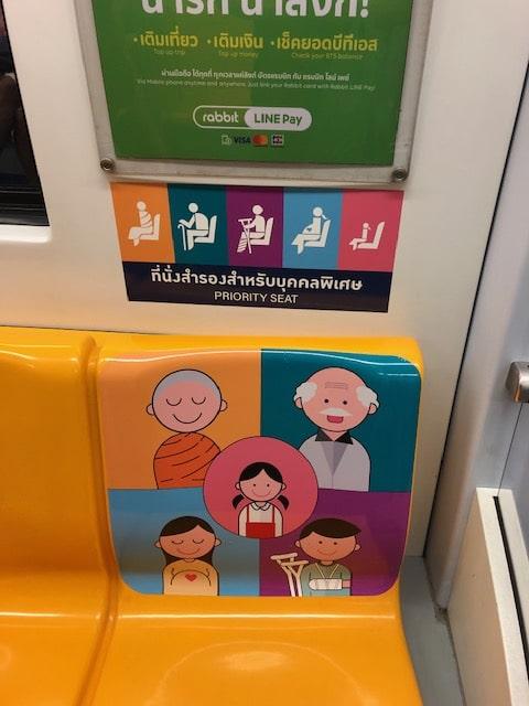 優先席にお坊さんも含まれているほど、仏教国のタイ