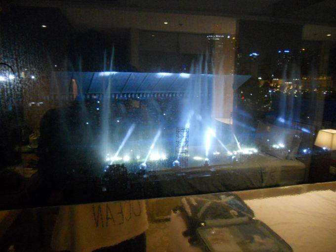 部屋から見える噴水ショー