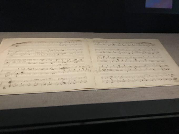 ショパン博物館にてショパンの直筆の楽譜