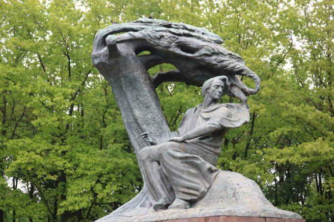 ワジェンキ公園のショパン銅像