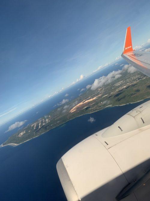 帰りの飛行機から見たグアム