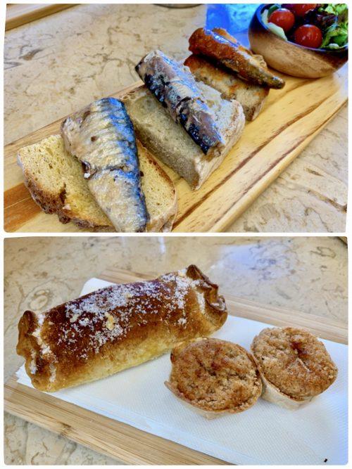 「Loja da Vinho」にてランチ。パンにイワシを乗せたものとシントラ名物ケイジャーダとトラヴセイロ