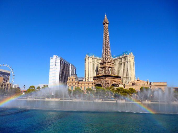 ベラージオの噴水ショー!ダブルの虹がかかり最高でした!