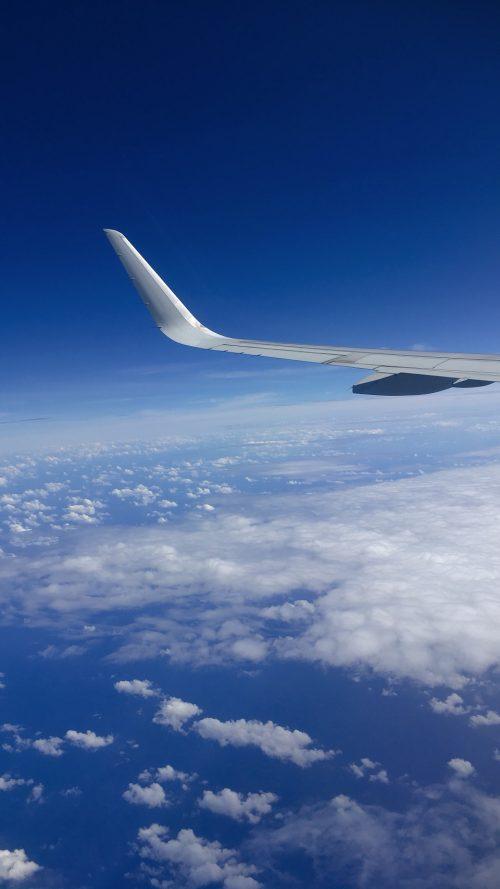 行きの飛行機での空の様子