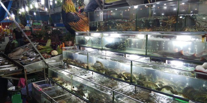 ナイトマーケットの新鮮な魚介類