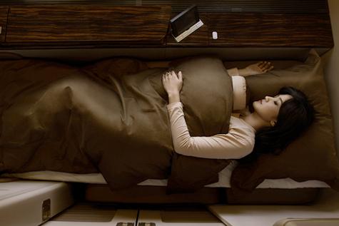 フルフラットベッドでの就寝